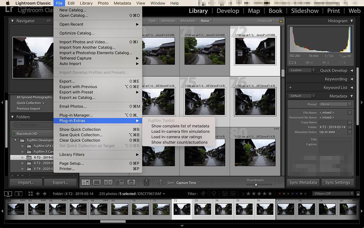 Fujifilm Toolkit - screenshot of use in Adobe Lightroom Classic